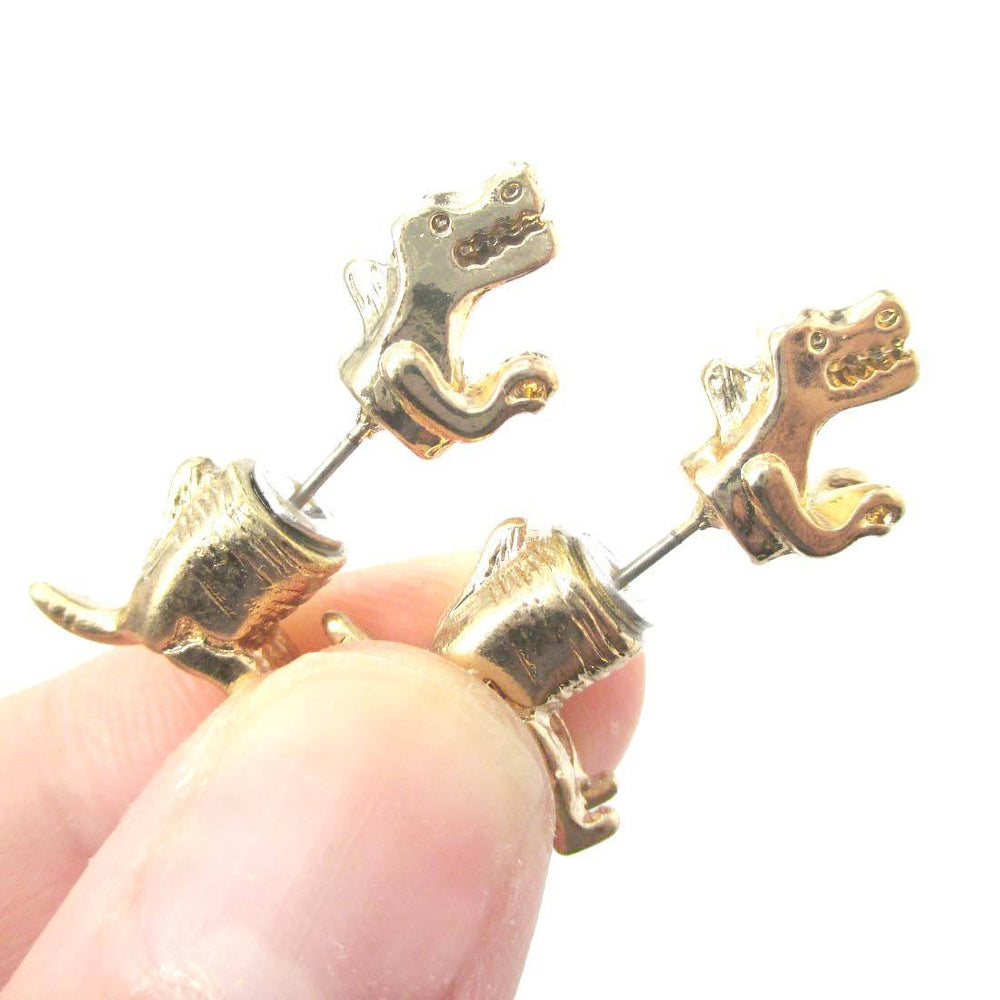 T-Rex Dinosaur Shaped Front and Back Two Part Earrings in Gold