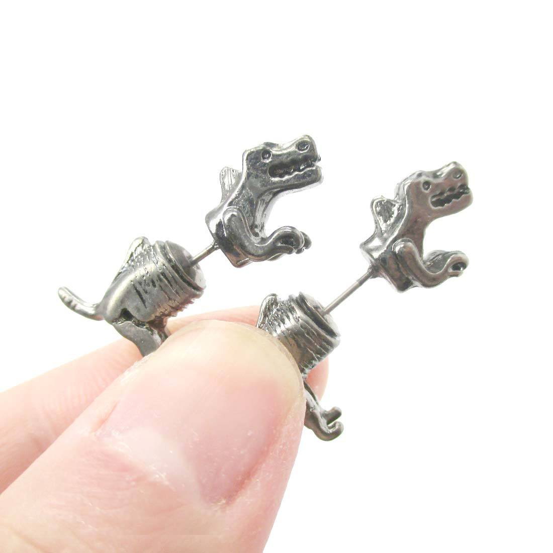 T-Rex Dinosaur Shaped Front and Back Two Part Earrings in Silver
