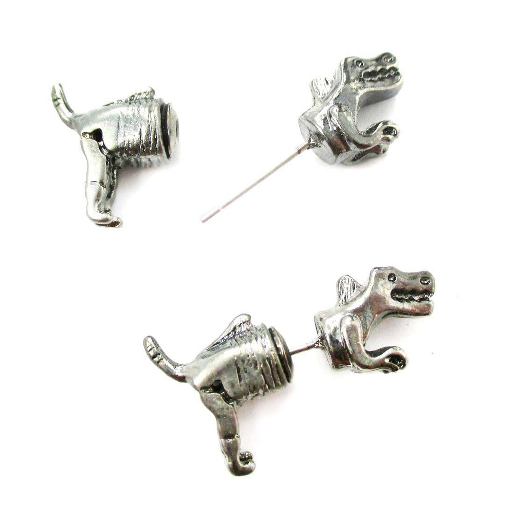 T-Rex Dinosaur Shaped Front and Back Two Part Earrings in Gunmetal Silver | DOTOLY