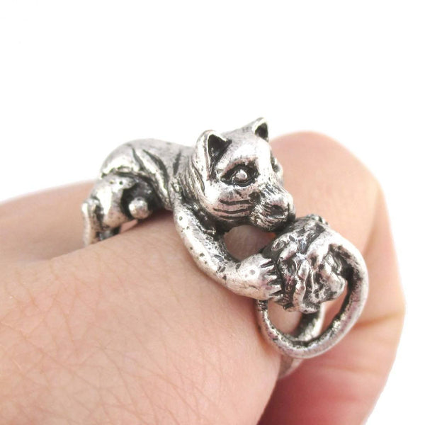 Tabby Cat Playing With a Ball of Yarn Shaped Animal Ring in Silver