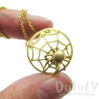 Tarantula Spider Web Shaped Pendant Necklace in Gold