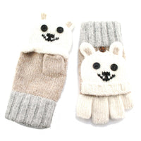 Teddy Bear Animal Theme Wool Knit Popover Mitten Gloves