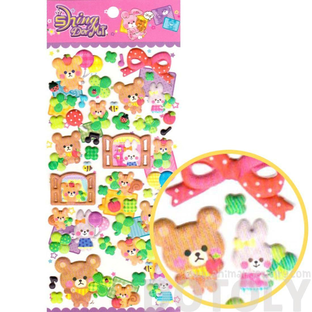 Teddy Bear Bunny Rabbit Squirrels Shaped Puffy Stickers