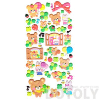 Teddy Bear Bunny Rabbit and Squirrels Shaped Puffy Stickers for Scrapbooking | DOTOLY