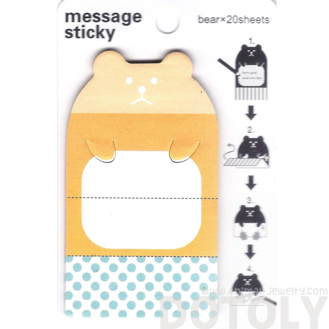 Cute Teddy Bear Animal Themed Adhesive Memo Message Post-it Letter Pad