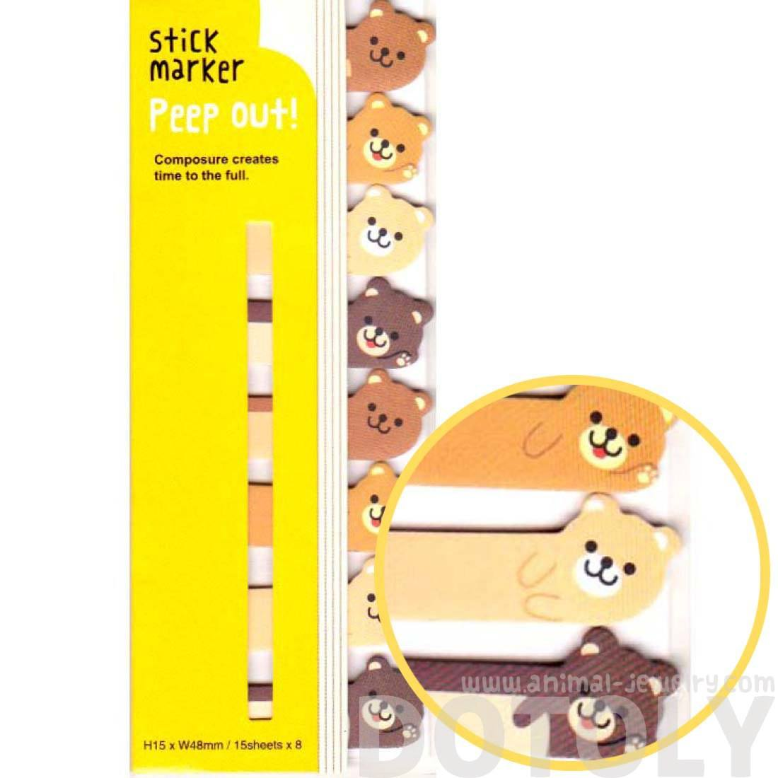 Teddy Bear Shaped Memo Post-it Peek Out Sticky Tabs