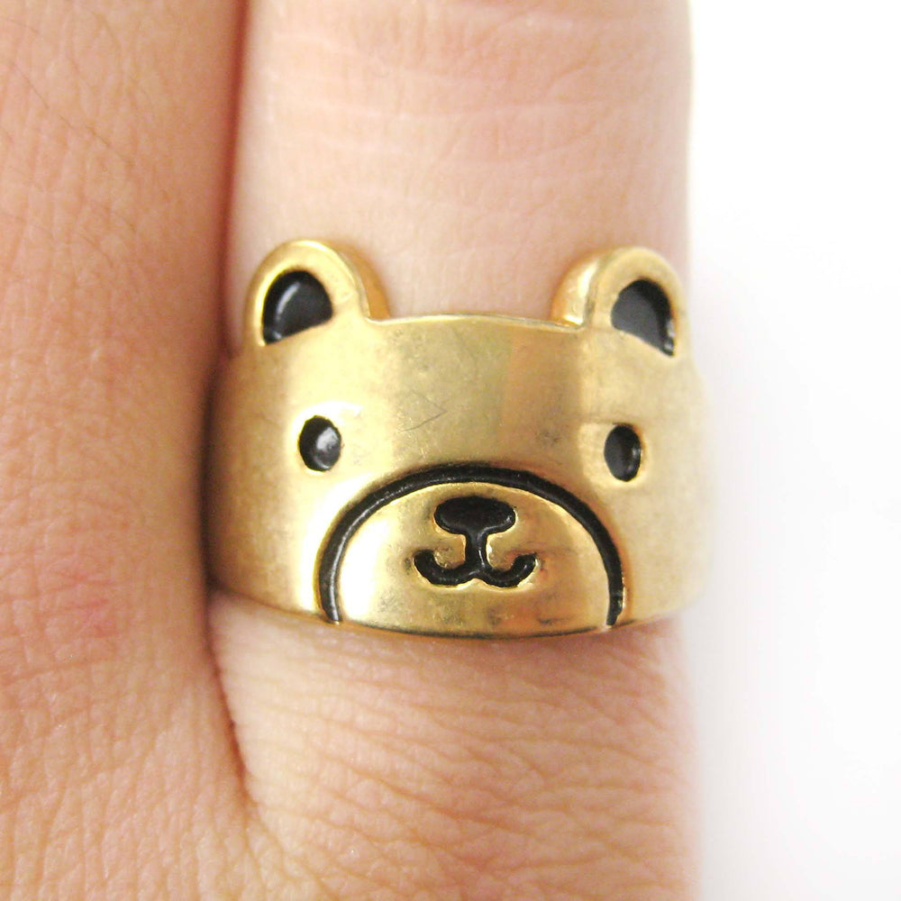 Teddy Bear Shaped Simple Animal Ring in Gold | Animal Jewelry