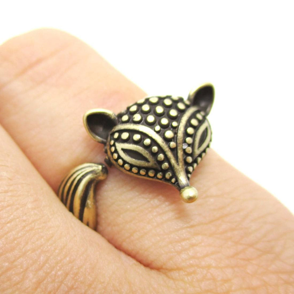 Textured Baby Fox Shaped Animal Ring in Brass | DOTOLY