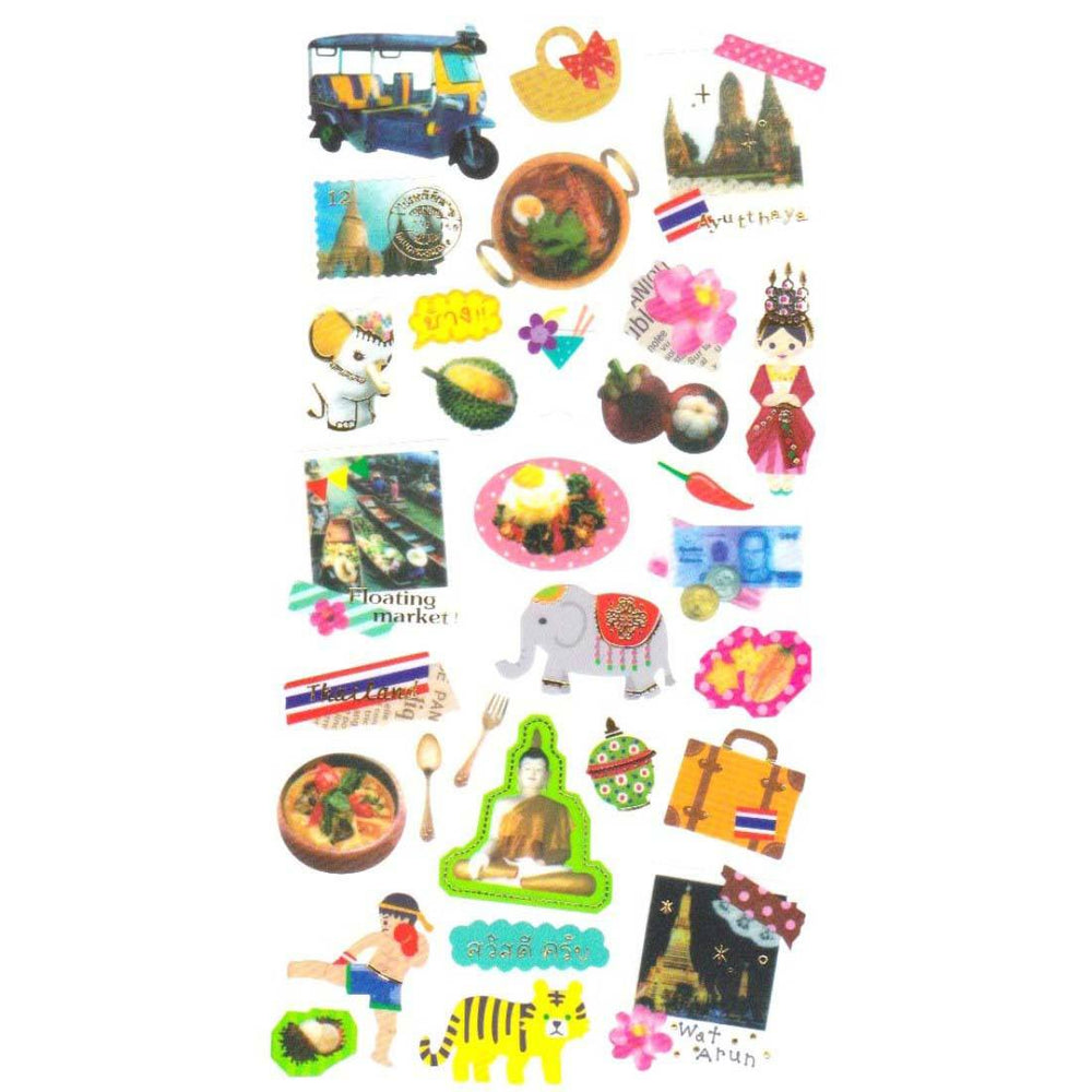 Thailand Themed Elephants Tigers Boxing Polaroid Shaped Travel Photo Sticker Seals | DOTOLY