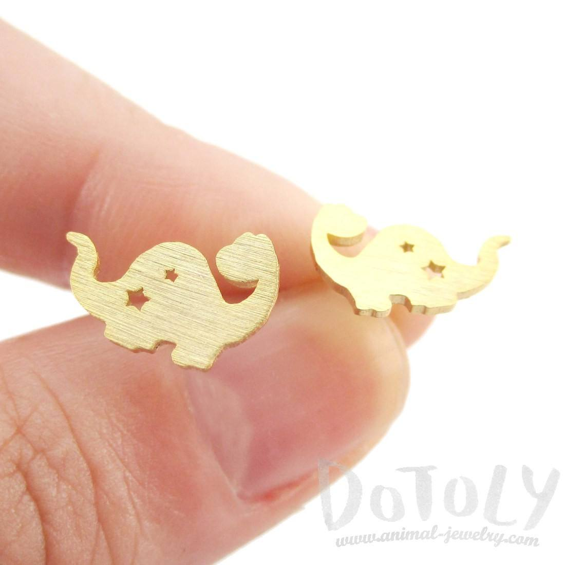 The Good Dinosaur Apatosaurus with Star Cut Out Stud Earrings in Gold