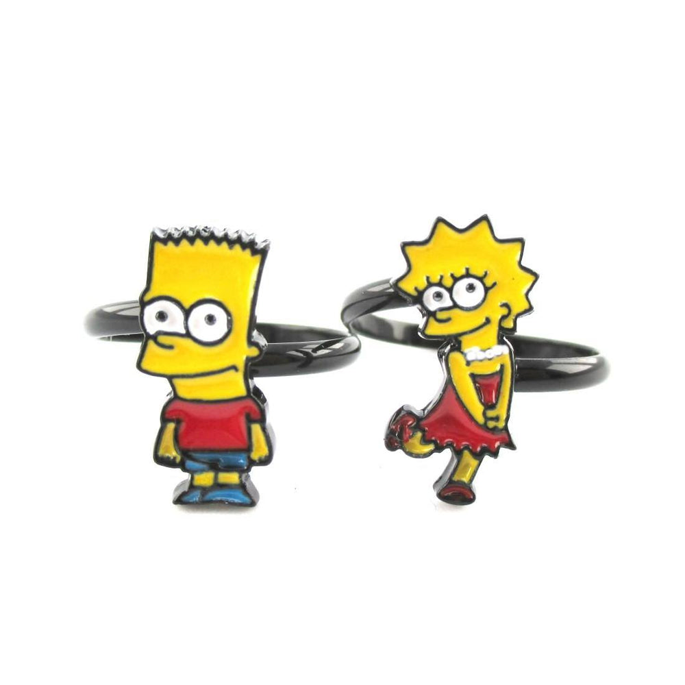 The Simpsons Themed Bart and Lisa Adjustable Ring