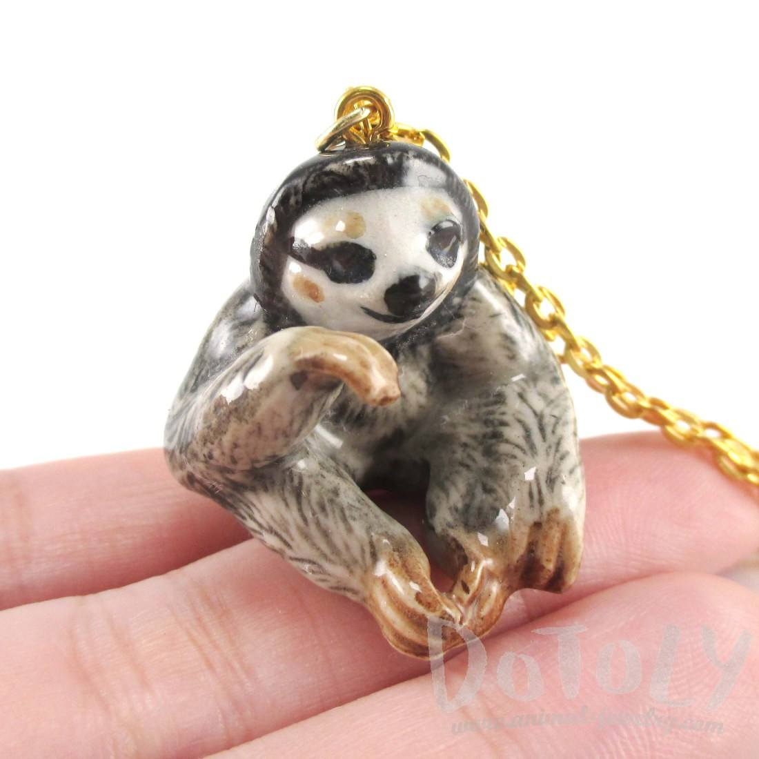 Three Toed Sloth Shaped Hand Painted Ceramic Animal Pendant Necklace