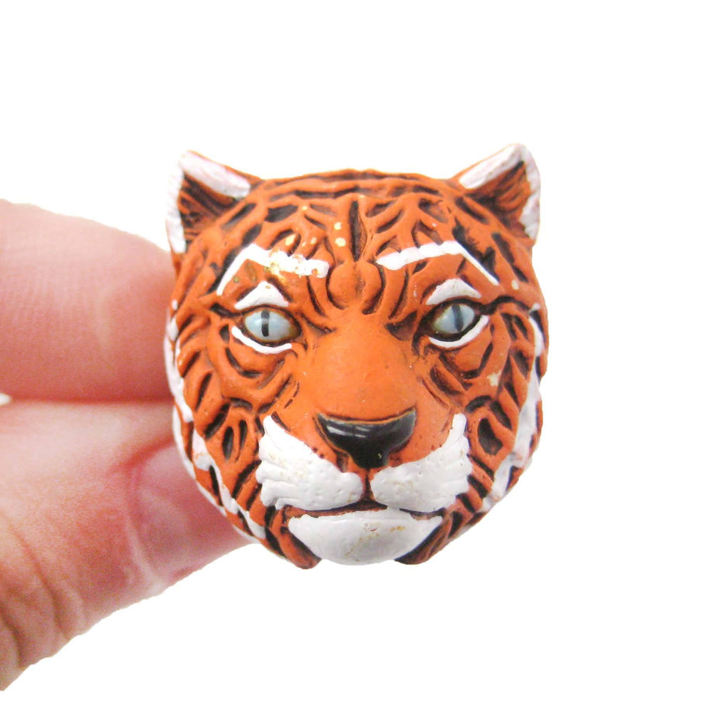 Tiger Head Shaped Porcelain Ceramic Adjustable Animal Ring | Handmade