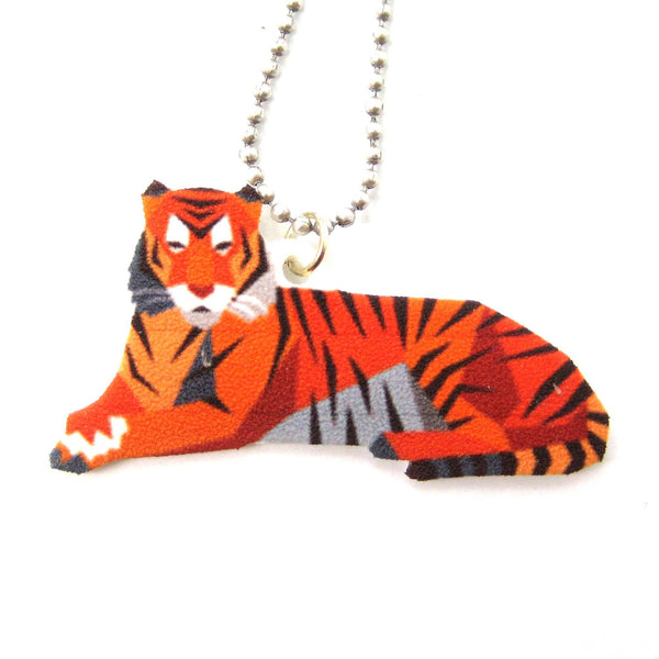 Tiger Illustrated Animal Themed Pendant Necklace | Handmade Shrink Plastic | DOTOLY