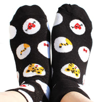 Tiger Polka Dot and Bow Tie Animal Print Cotton Socks for Women