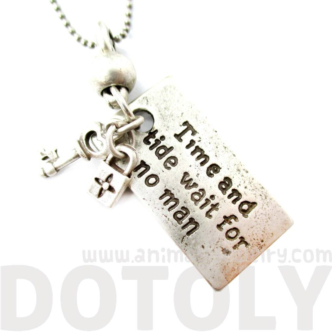 Time and Tide Wait For No Man Quote Shaped Pendant Necklace in Silver
