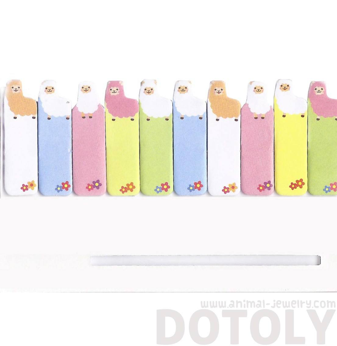 Tiny Alpaca Llama Shaped Animal Themed Post-it Memo Bookmark Tabs