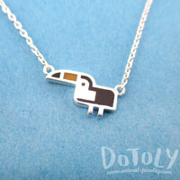 Tiny Atlantic Puffin Bird Shaped Enamel Charm Necklace in Silver