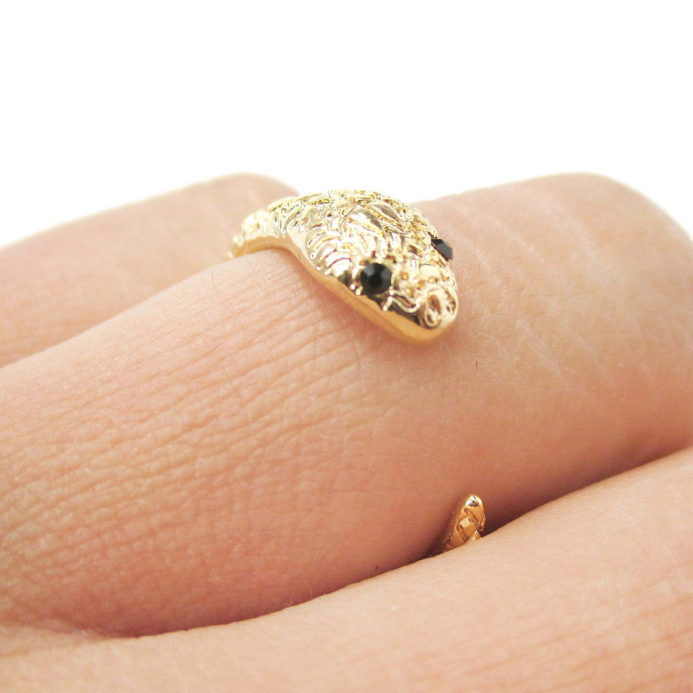 Tiny Baby Snake Hugging Your Finger Shaped Ring in Gold
