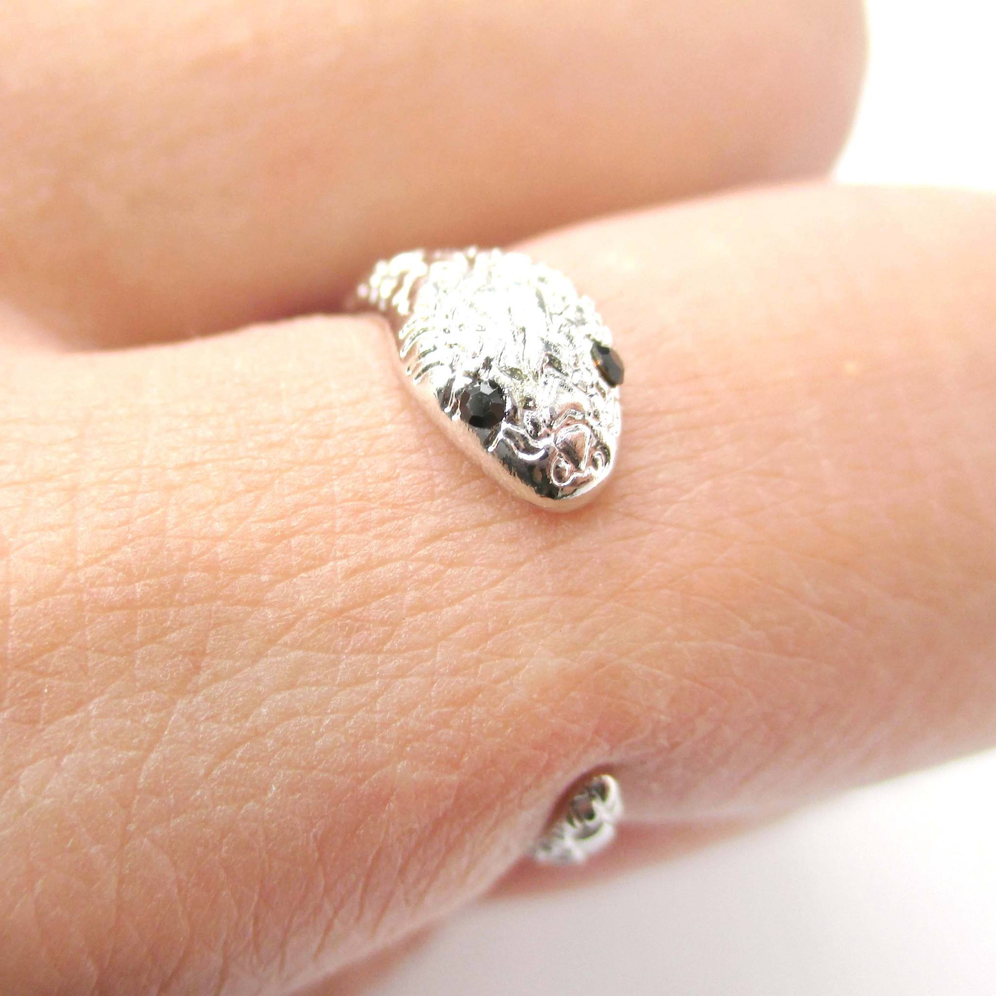 Tiny Baby Snake Hugging Your Finger Ring in Silver
