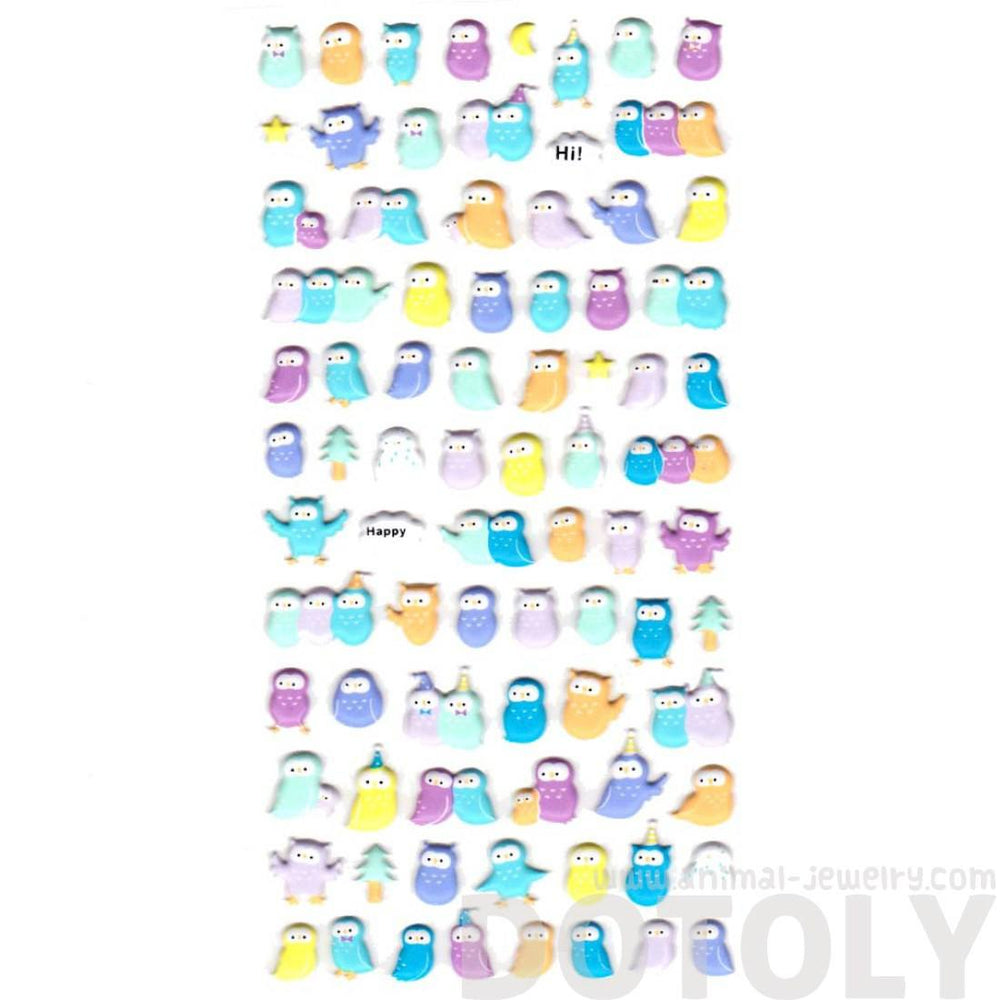 Tiny Barn Owls Bird Shaped Animal Puffy Stickers in Pastel Colors
