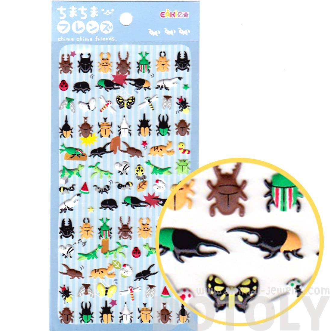 Beetle Bugs Butterflies Shaped Insect Puffy Stickers for Scrapbooking