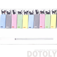 Tiny Black Kitty Cat Silhouette Shaped Animal Themed Post-it Memo Tabs