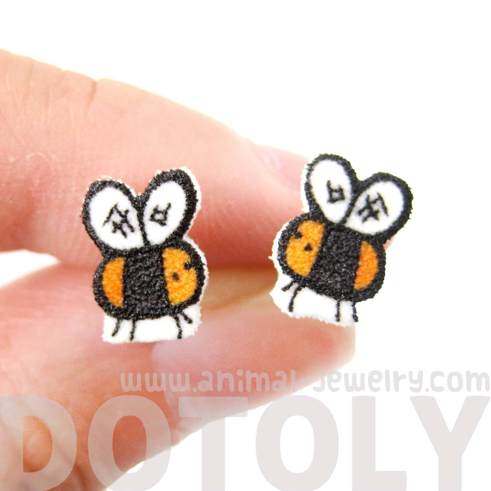 Tiny Bumble Bee Shaped Animal Illustrated Stud Earrings | Handmade Shrink Plastic | DOTOLY