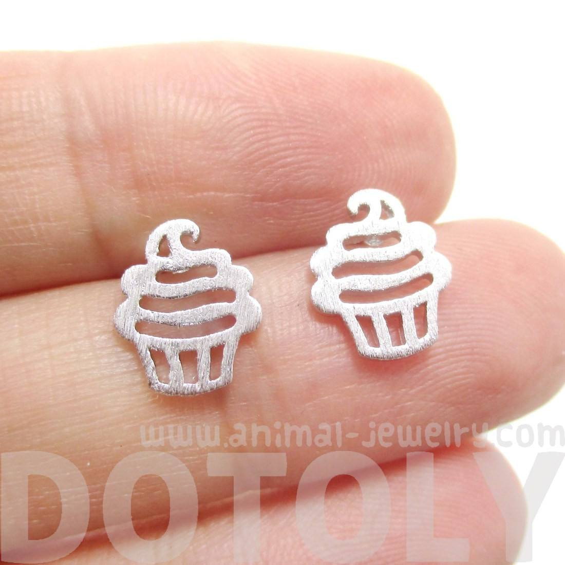 Tiny Cupcake Shaped Stud Earrings in Silver | DOTOLY