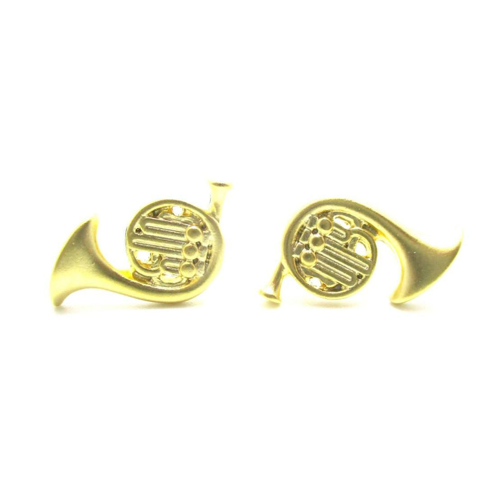Tiny French Horn Shaped Stud Earrings in Gold | Music Themed Jewelry | DOTOLY