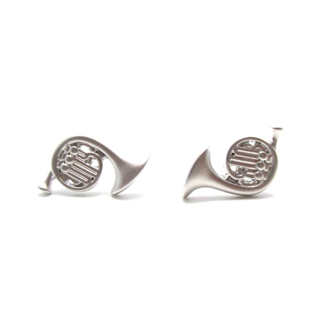 3D French Horn Shaped Stud Earrings in Silver | DOTOLY