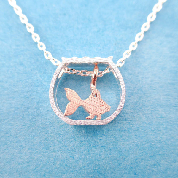 Tiny Goldfish in a Fish Bowl Shaped Pendant Necklace in Silver | DOTOLY | DOTOLY
