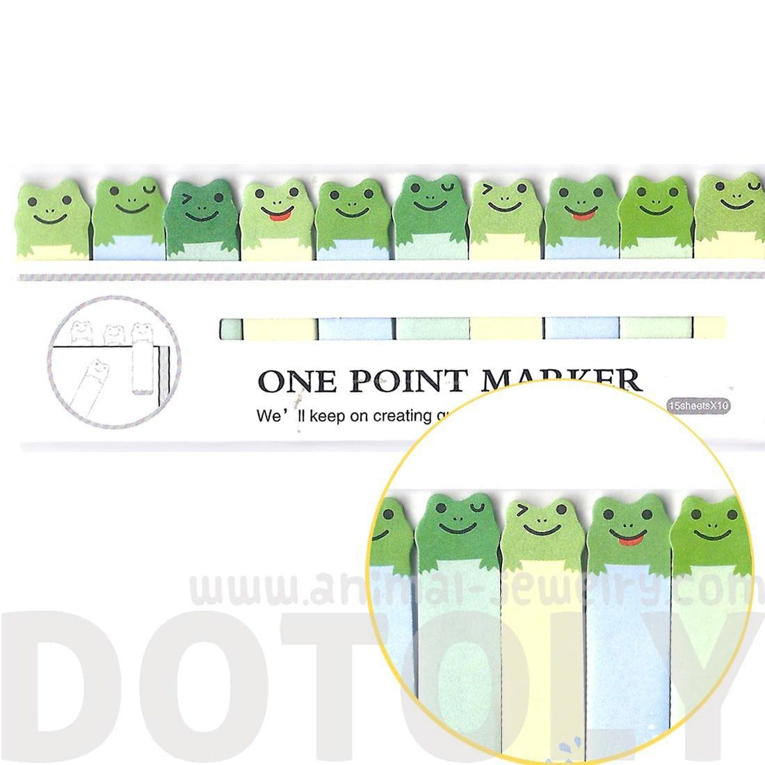 Tiny Green Frog Shaped Animal Themed Sticky Post-it Memo Bookmark Tabs