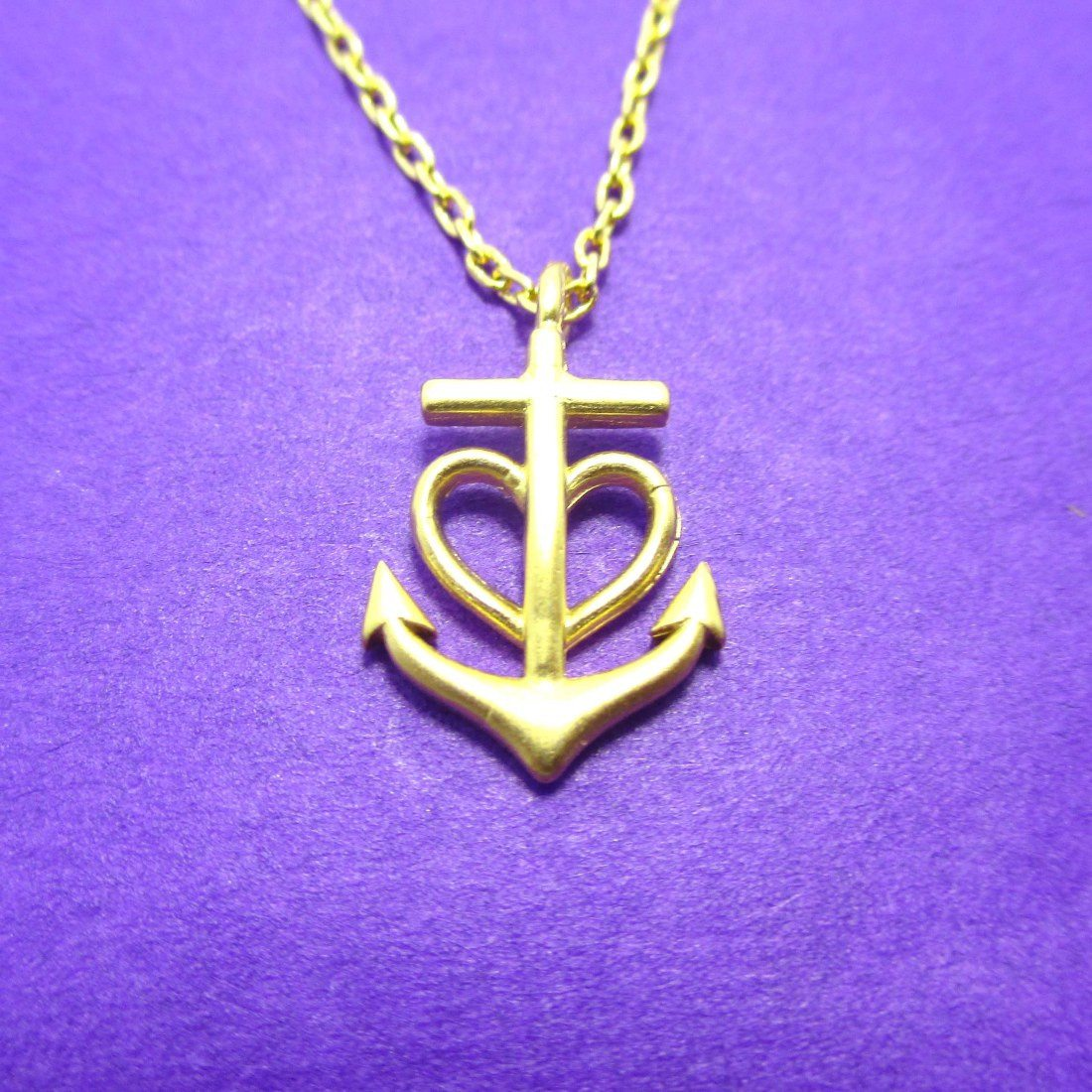 Heart Shaped Anchor Nautical Themed Necklace in Gold