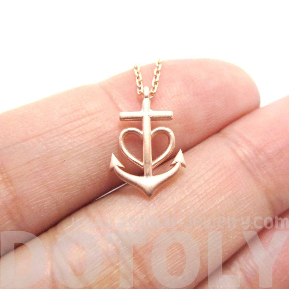 Tiny Heart Shaped Anchor Charm Nautical Themed Necklace in Rose Gold | DOTOLY | DOTOLY