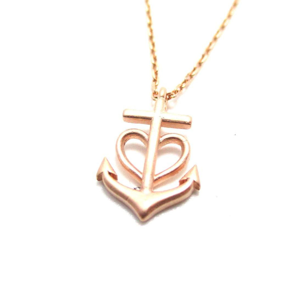 Heart Shaped Anchor Nautical Themed Necklace Rose Gold
