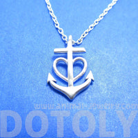 Tiny Heart Shaped Anchor Charm Nautical Themed Necklace in Silver | DOTOLY | DOTOLY