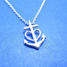 Heart Shaped Anchor Nautical Themed Necklace in Silver