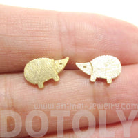 Tiny Hedgehog Animal Shaped Stud Earrings in Gold