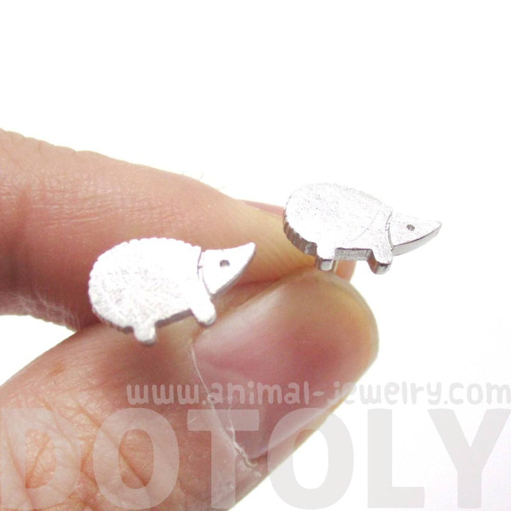 Tiny Hedgehog Animal Shaped Stud Earrings in Silver