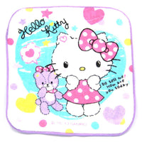 Hello Kitty and Teddy Bear Heart and Stars Print Face Towel in White