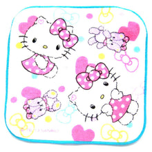Tiny Hello Kitty and Teddy Bear Print Handkerchief Face Towel in White