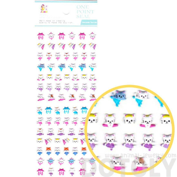 Tiny Kitty Cat Ballerina Shaped Puffy Stickers for Kids