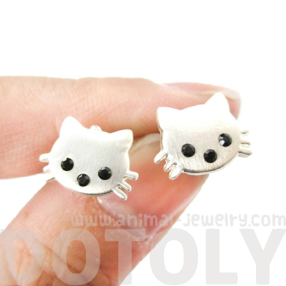 Tiny Kitty Cat Animal Shaped Allergy Free Stud Earrings in Silver