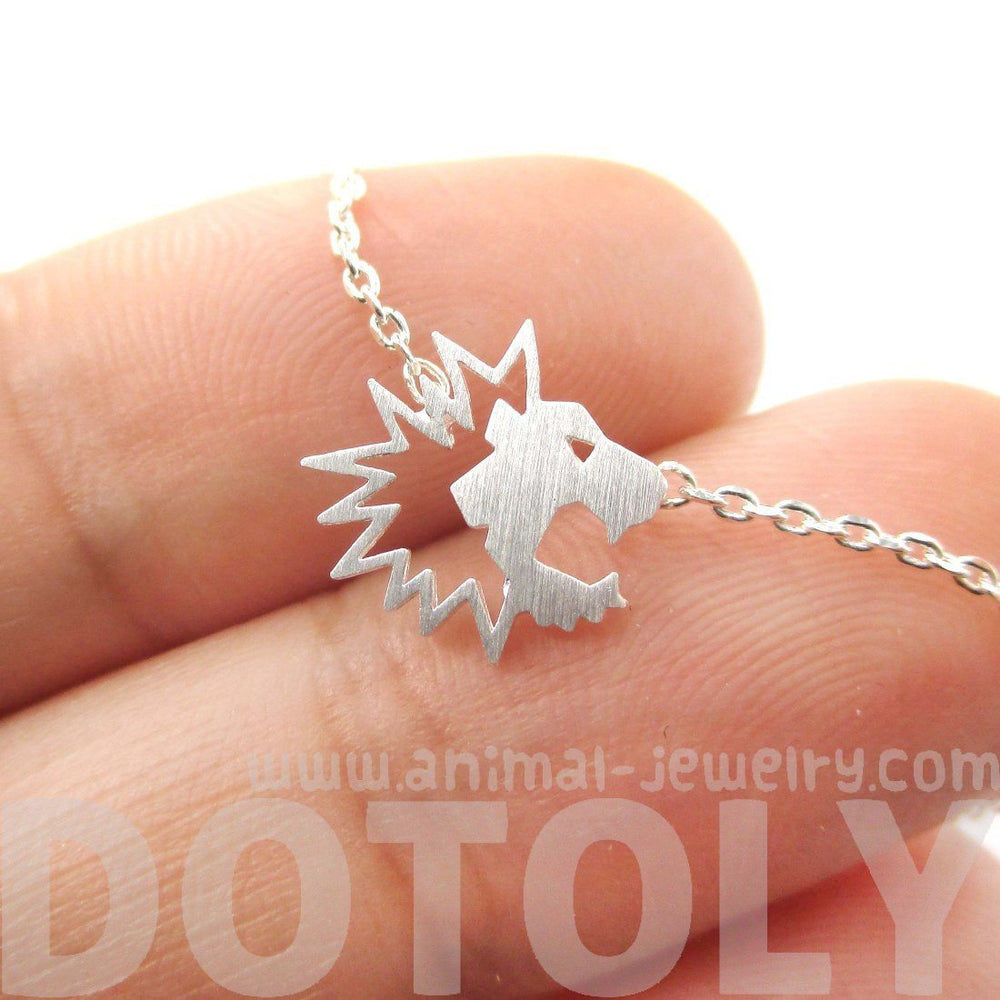 Tiny Lion Face Shaped Animal Cut Out Charm Necklace in Silver | DOTOLY