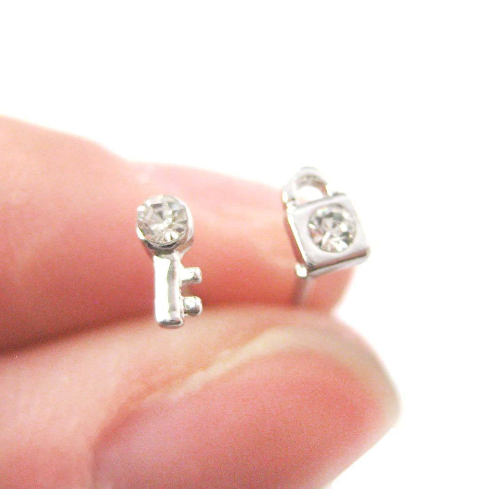 Tiny Lock and Key Shaped Stud Earrings in Silver with Rhinestones