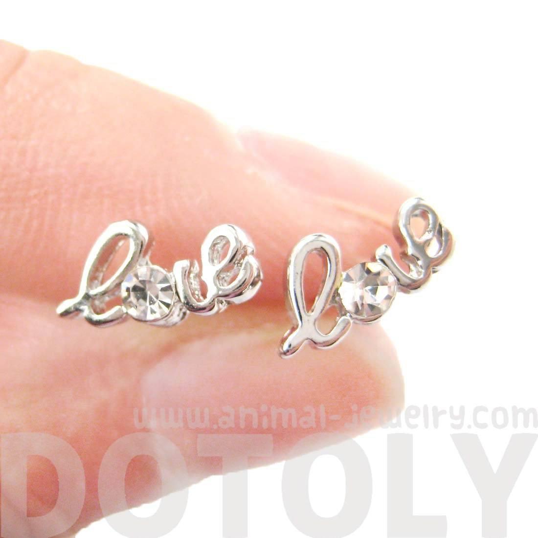 Tiny Love Cursive Letter Shaped Rhinestones Stud Earrings in Silver