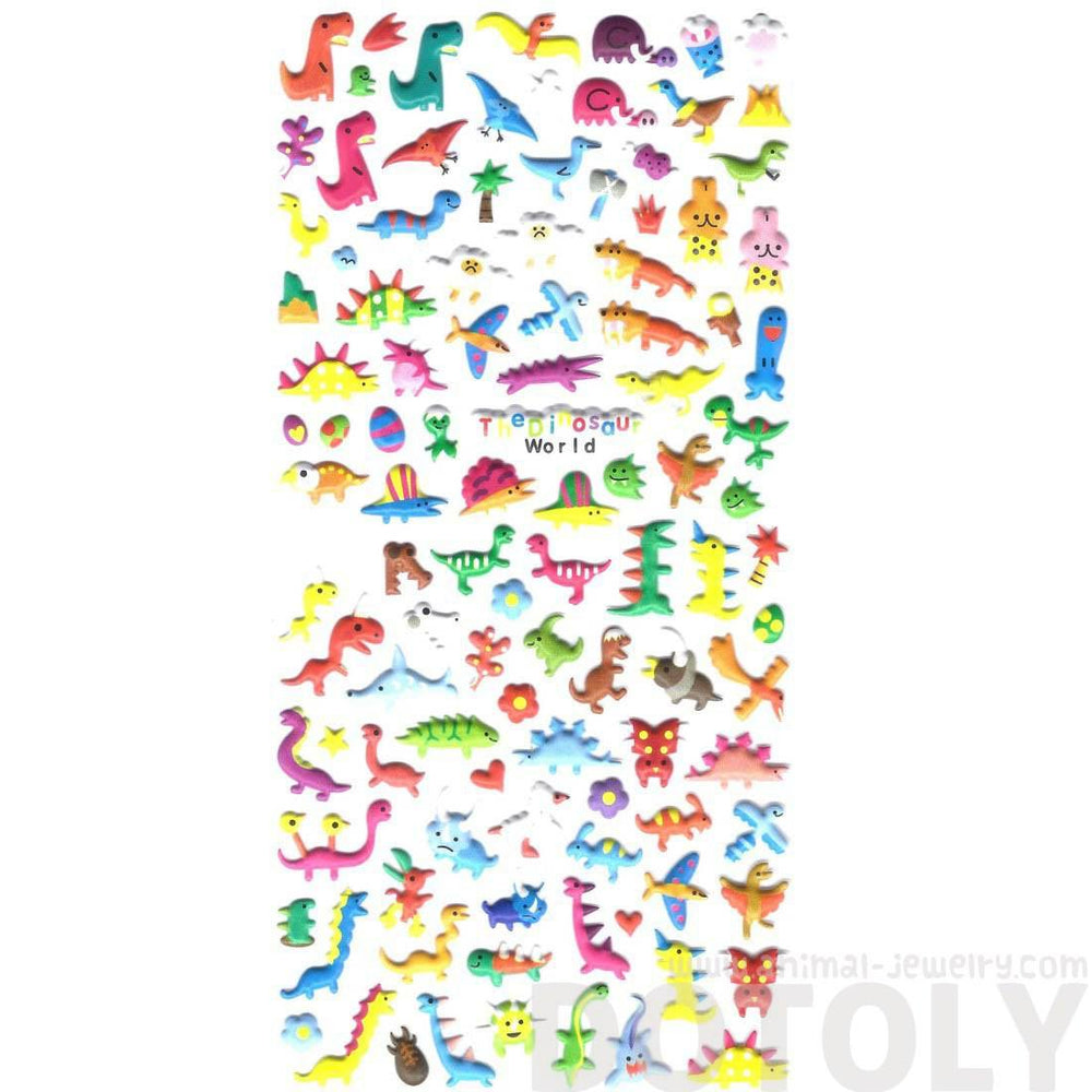 Tiny Dinosaur Shaped Pre-Historic Animal Theme Puffy Stickers for Kids