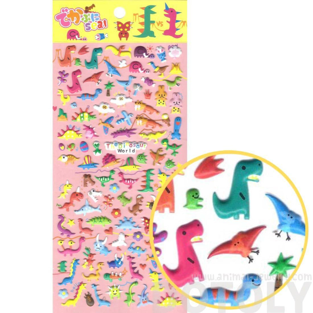 Tiny Dinosaur Shaped Prehistoric Animal Themed Puffy Stickers for Kids