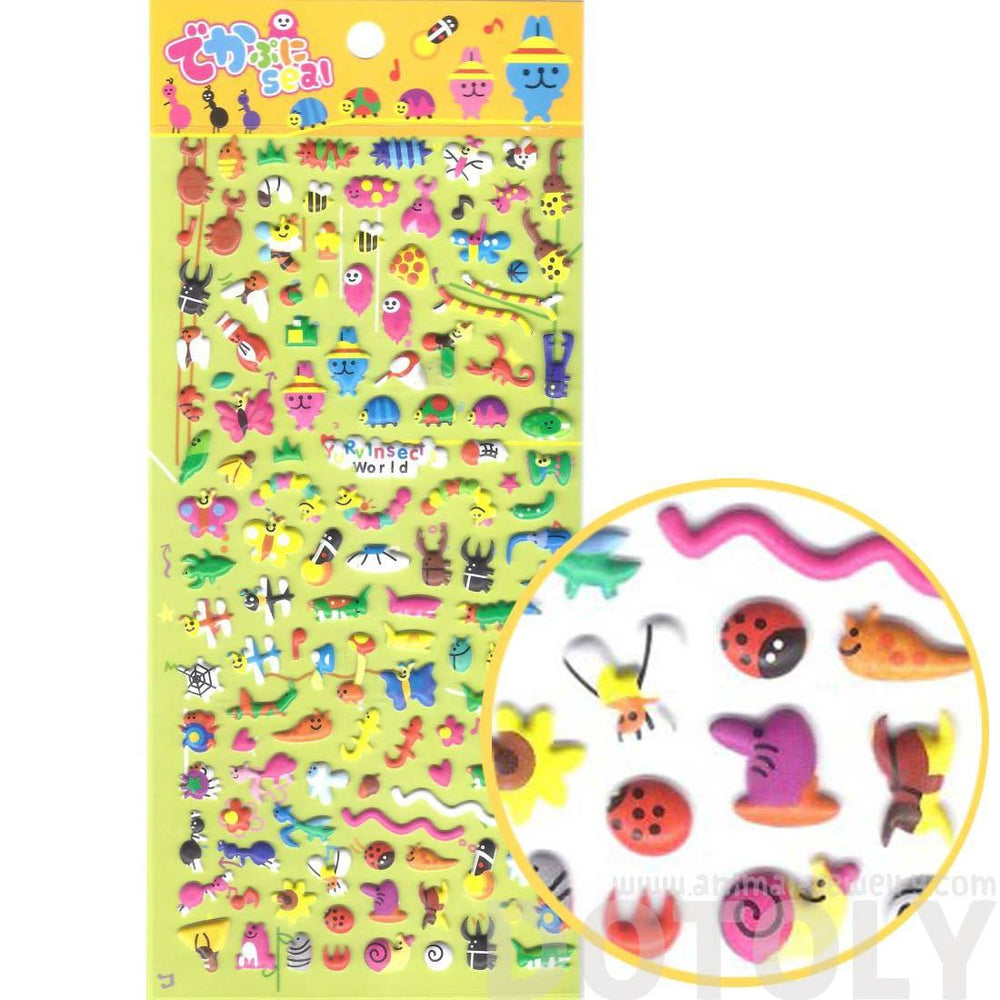 Tiny Mixed Insect Themed Butterfly Ant Snail Bug Shaped Puffy Stickers